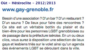 Presse - gay-grenoble.fr - Oùt - Hétéroclite - 2012-2013