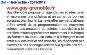 Presse gay-grenoble.fr - Oùt - 2011/2012