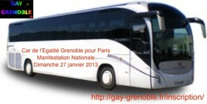 Car de l'Egalité de Grenoble par Lyon pour Paris - Manifestation Nationale - Dimanche 27 janvier 2013