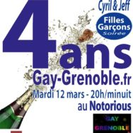 Gay Grenoble fête ses 4 ans avec les soirées Cyril et Jeff – Mardi 12 mars 2013