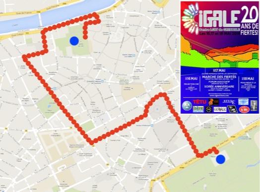 Parcours Marche des Fiertés - Grenoble - Samedi 17 mai 2014