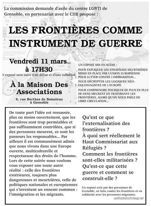 Exposé mis en scène: «Les frontières comme instrument de guerre» - Vendredi 11 mars 2016
